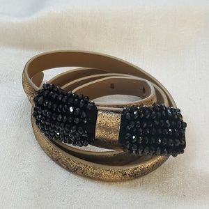 Gold Black Bead Bow Belt sz M #1304